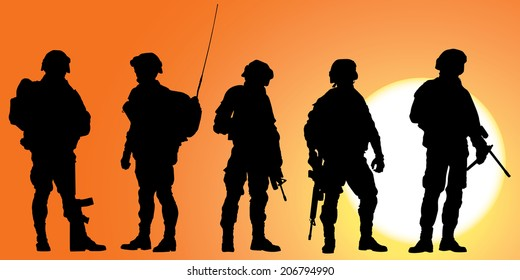 Army soldiers silhouette against a sunset vector collection.