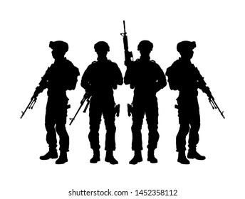 Army soldiers with sniper rifle on duty vector silhouette (Memorial day, Veteran's day, 4th of July, Independence day ) Soldier keeps the watch, on the guard. Rangers on border. Commandos team unit.