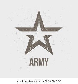 Army star on a shabby background.