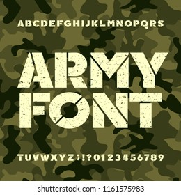 Army stencil alphabet font. Grunge bold letters and numbers on military camo background. Vector typeset for your design.