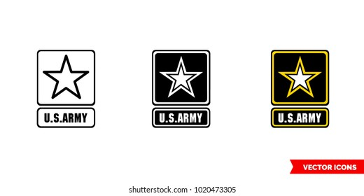 Army symbol icon of 3 types: color, black and white, outline. Isolated vector sign symbol.