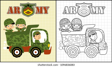 Army truck with happy troops, coloring book or page, vector cartoon illustration