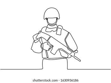 Army with uniform. Continuous one line drawing. Vector illustration minimalism design.