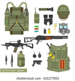 Army uniform vector illustration on white background. Helmet, jacket, knife, grenades, shells, pistol, rifle. Modern army combat gear ammunition. Flat style, uniform items set.