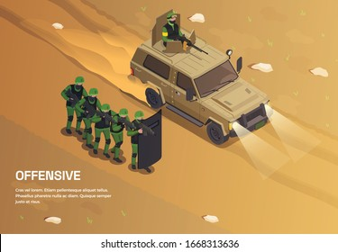 Army weapons soldier isometric background with editable text and outdoor composition with group of special forces vector illustration