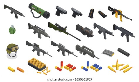 Army weapons soldier isometric set with isolated icons of arms inventory automatic hand guns and bullets vector illustration