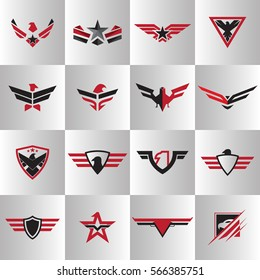 Army wing Logo vector Set