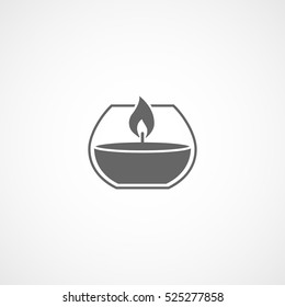 Aroma Candle In Cup Flat Icon In White Background