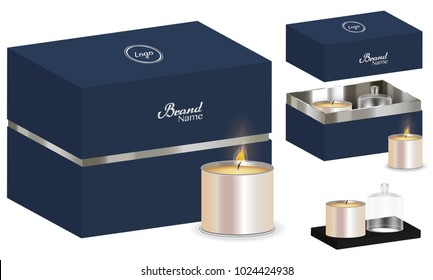 aroma candle package box design 3d mockup