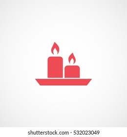 Aroma Candle Red Flat Icon On White Background