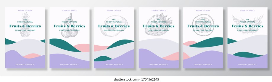Aroma candles vector labels template bundle. Fruits and berries scents collection advert design. Sketch background layouts with abstract waves decor. Natural smell product package text space set.