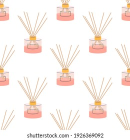 Aroma diffuser for home in pink powder color on a white background. Vector seamless pattern, in flat style.
