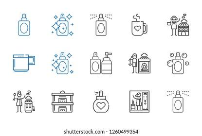 aroma icons set. Collection of aroma with perfume, steam, hot stones, mug. Editable and scalable aroma icons.