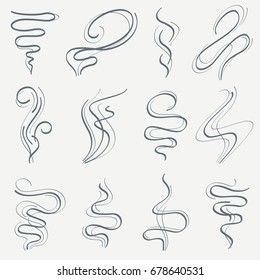 Aroma and smoke line stream. Smell linear trails vector set. Steam fragrance from cigarette, smokestack trail illustration