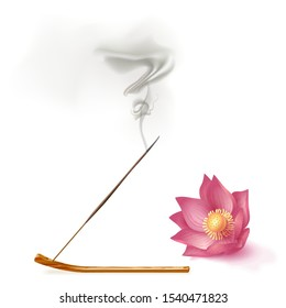Aroma stick on incense burner with smoke and lotus on white background. Indian aromatherapy and meditation. Vector stock illustration.