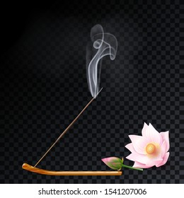 Aroma stick on incense burner with smoke and lotus flower bud on transparent background. Indian aromatherapy and meditation. Vector stock illustration.