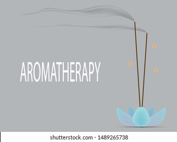 Aroma sticks for aromatherapy seance with a pleasant smell on a special stand holder in form of the flower look like lotus. Vector aromatherapy objects isolated on white background,