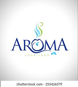 Aroma Therapy Logo Design. Aromatic oils design symbol. Aroma Text Icon.