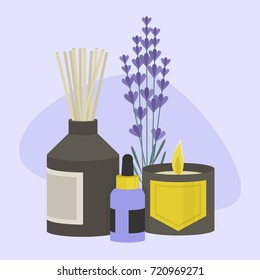 Aroma therapy set. A collection of home fragrances: aroma candle, sticks and oil / flat editable vector illustration, clip art