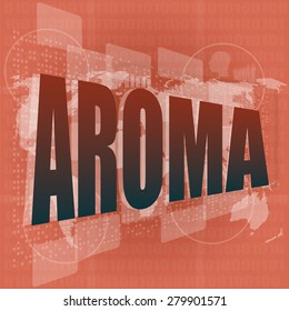 aroma word on digital screen, mission control interface hi technology vector