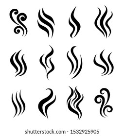 Aromas vaporize icons. Smells vector line icon set,hot aroma,stink or cooking steam symbols, smelling or vapor, smoking or odors signs.Set of aroma icon.Smoke. Flat design.Isolated on white background