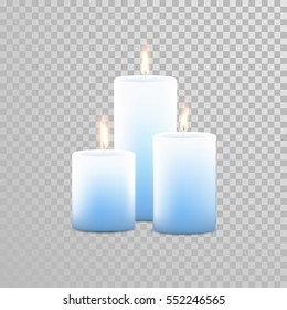 Aromatherapy candles. Vector 3D realistic burning blue candle set with flames. Isolated round cylindrical shape candle on transparent background. Wedding decoration element design