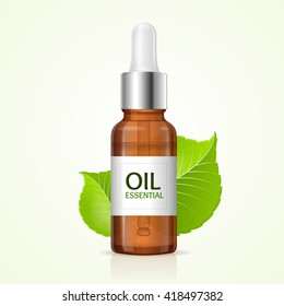 Aromatherapy Concept with Green Leaves. Vector illustration