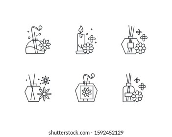 Aromatherapy linear icons set. Floral scented sticks. Aromatic candles. Cosmetology, spa therapy. Thin line contour symbols. Isolated vector outline illustrations. Editable stroke. Perfect pixel