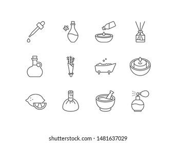 Aromatherapy and spa line icons with massage oil, aromatic sticks, lavender, bathtub, candle, mortar and pestle, perfume.