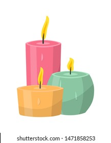 Aromatic candles flat vector illustration. Burning decorative pink, orange and blue wax candles isolated clipart on white background. Relaxation, resting and aromatherapy design element