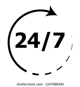 Around the clock 24h. Rotation arrow icon. Time of clock around, vector illustration