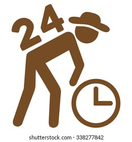 Around The Clock Work vector icon. Style is flat symbol, brown color, rounded angles, white background.
