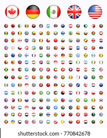 Around of the world all rounded circle vector illustration simple modern flags, country symbols with light effect, shadow, shape, shade