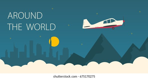 Around the world flat illustration. Plane flying around the world.