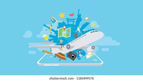 Around the World Holiday Travel Booking Mobile App Tiny People Character Concept Vector Illustration, Suitable For Wallpaper, Banner, Background, Card, Book Illustration, And Web Landing Page