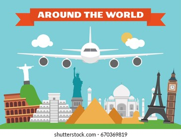 Around the world modern flat design.Vector illustration