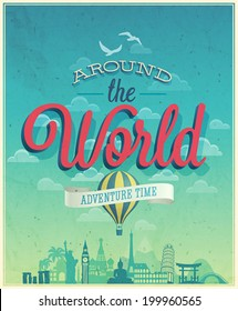 Around the world poster. Vector illustration.
