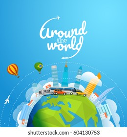 Around the world tour by different vehicle. Travel concept vector illustration with logo