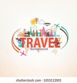 around the world travel background, landmarks and national symbols silhouettes icons set