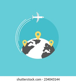 Around the world travelling by plane, airplane trip in various country, travel pin location on a global map. Flat icon modern design style vector illustration concept.