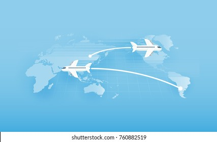 Around the world travelling by plane, vector illustration