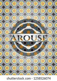 Arouse arabesque style badge. arabic decoration.