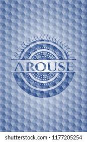 Arouse blue polygonal badge.