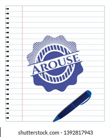 Arouse drawn with pen. Blue ink. Vector Illustration. Detailed.
