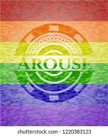 Arouse emblem on mosaic background with the colors of the LGBT flag