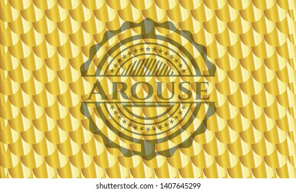 Arouse golden badge. Scales pattern. Vector Illustration. Detailed.