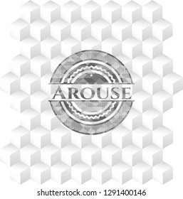 Arouse grey badge with geometric cube white background