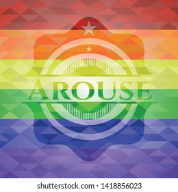 Arouse on mosaic background with the colors of the LGBT flag