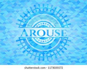 Arouse sky blue emblem. Mosaic background