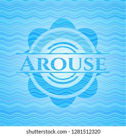 Arouse water wave representation badge background.